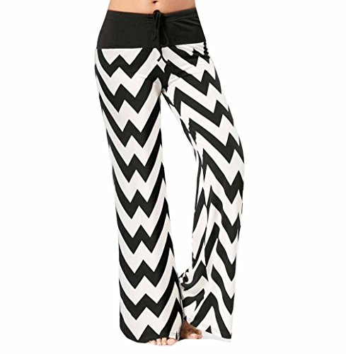 2018! Women's Wide Leg Pants Wave Printed High Waist Yoga Palazzo Pajama Lounge Pants (XL, White)
