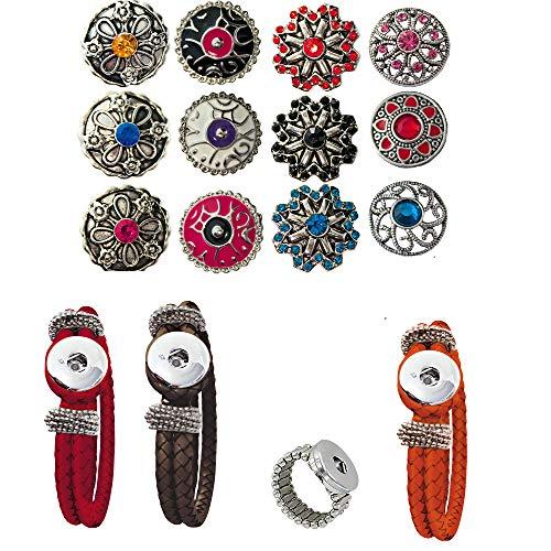 Damen Mädchen, Click-Buttons Druckknöpfe Chunks Set für: Ring,Armband 9 Klick Buttons. Schmuck Sets sind tolle Schwester /Oma / Mama Geschenk beste Geschenke für Frauen