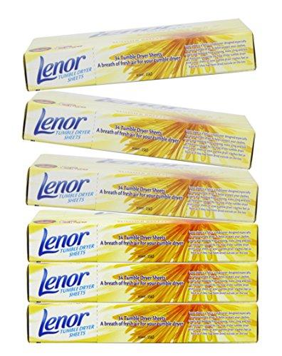 Lenor Hojas Secadora de Ropa Summer Breeze Box 34 (Pack de 6)