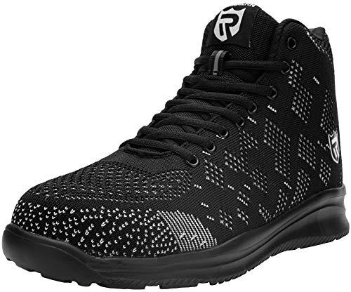 LARNMERN Zapatos de Seguridad Hombre Mujer con Punta de Acero Botas Zapatillas Ligeros Calzado de Trabajo Negro, 44 EU