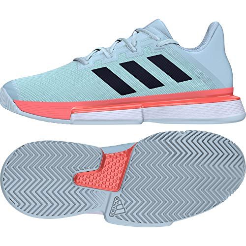 Adidas SoleMatch Bounce M, Zapatillas Tenis Hombre, Multicolor (Dash Green/Core Black/Signal Coral),...