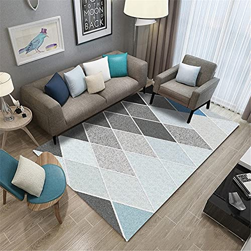 Couch klein für jugendzimmer Blauer und Grauer rechteckiger Teppich, Kurze Stapel und kein Haardesign, Anti-Rutsch Couch klein für jugendzimmer kleines Sofa für jugendzimmer 180X280CM 5ft 10.9' X9