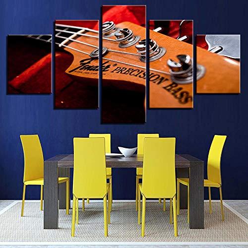 GZSBYJSWZ Lienzo HD Decoración Moderna para el hogar Impreso 5 Paneles Instrumento Musical Bajo eléctrico Tableau Imágenes artísticas de Pared Carteles Pinturas modulares