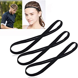 [3 Pack] Heyus Anti-Slip Thin Elastic Black Sports Headbands Yoga Head Band Sweatband Sweat Band for Men and Women nisex-A...