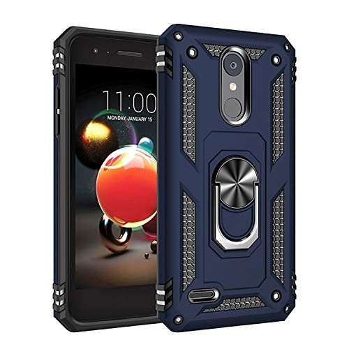 Phone Case for [LG Phoenix 4 / LG Phoenix 3 (AT&T)], [Ring Series][Navy Blue] Shockproof Defender [Full Rotating Metal Ring] Cover with [Kickstand] for LG Phoenix 3 & LG Phoenix 4 (AT&T)