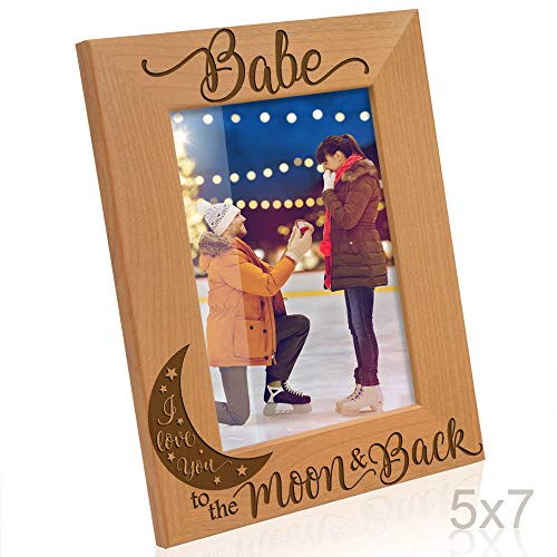 Kate Posh Babe I Love You to The Moon and Back Engraved Natural Wood Picture Frame, Anniversary, Weddings, Valentine's Day, Engagement, Couples in Love Gifts, Husband & Wife (5x7-Vertical)