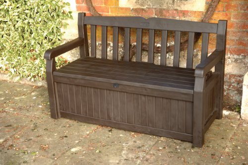GARDEN BENCH + UNDER STORAGE KETER 140CM RESIN PATIO FURNITURE 265L LOCKABLE