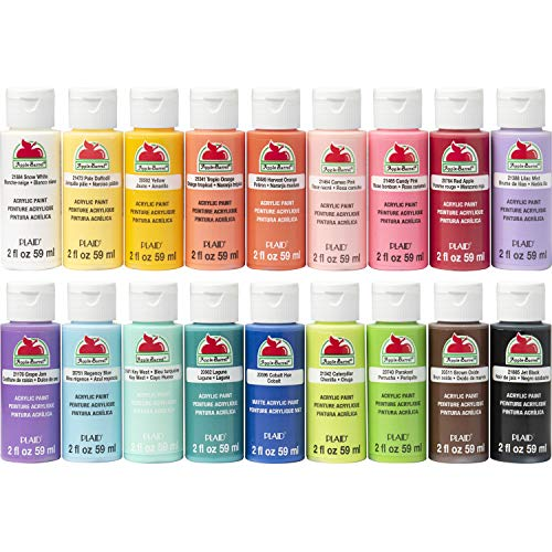 Apple Barrel Acrylic Paint Set, PROMOTCK 18 (2 fl oz/59 ml) Assorted Matte Finish Colors For Painting, Drawing & Art Supplies, DIY Arts And Crafts Acrylic Paint For Kids And Adults