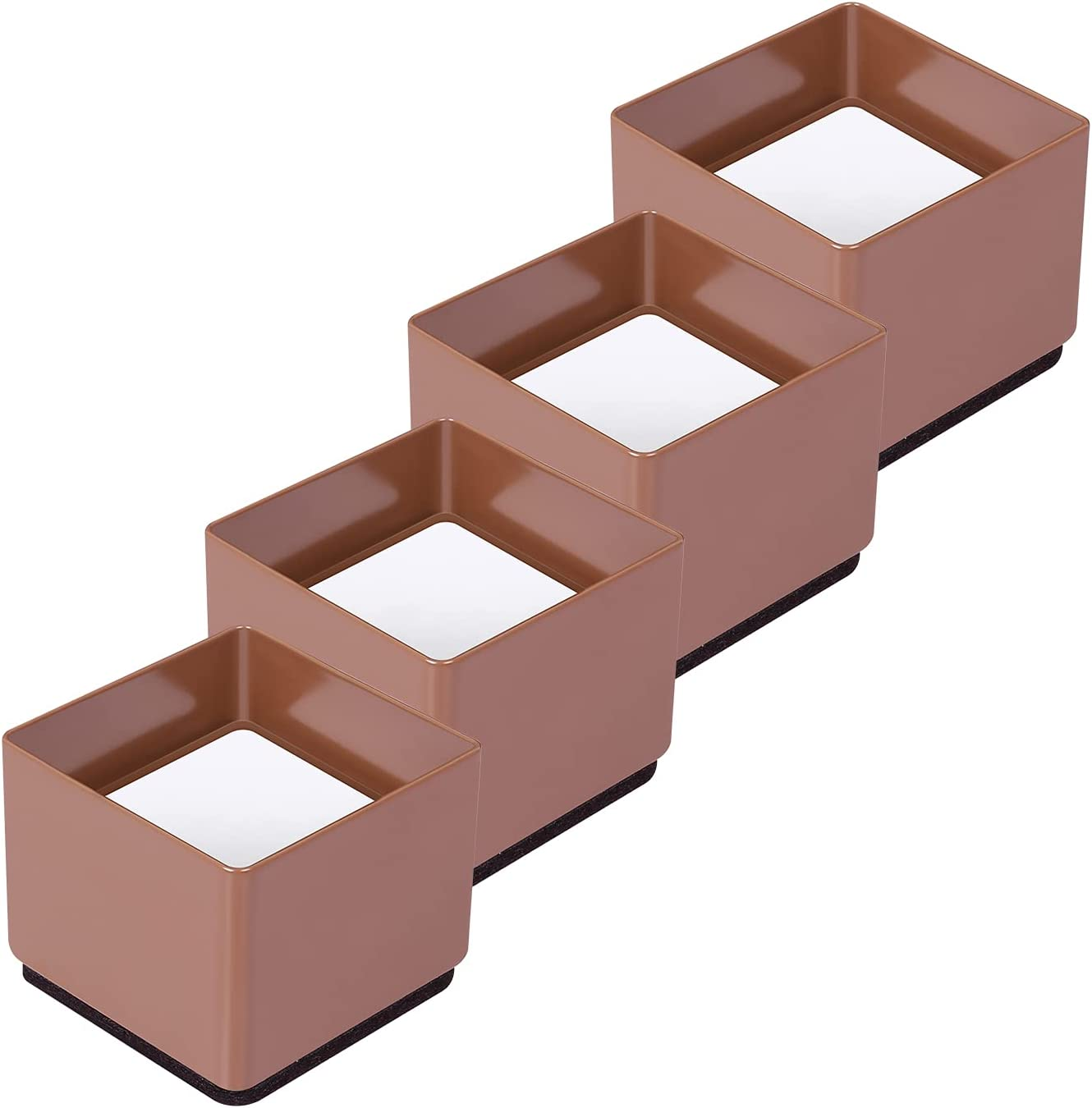 Ezprotekt Upgrade Bed Risers Heavy Duty Furniture Risers for Sofa Table Couch Lift Height of 1.2 Inches, Bottom Pad Protect Floors, Solid Steel Offer Strong Support, Set of 4, Square Brown