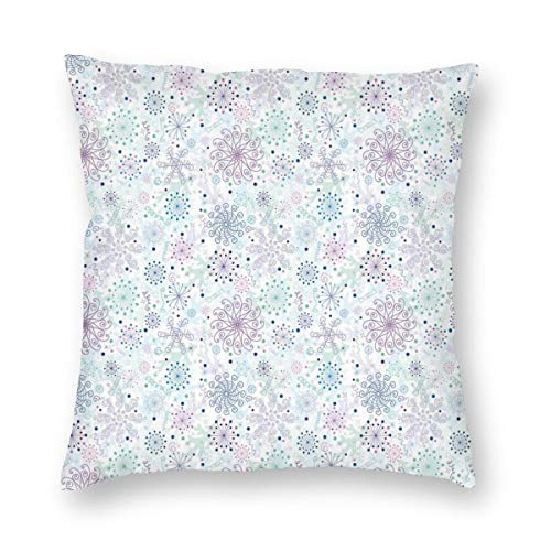 ZUL 3D Print Throw Pillow Covers,Pastel Colored Cheerful Composition With Abstract Snowflakes And Curls,Decorative Square Cushion Covers Case for Sofa Couch Home Decor