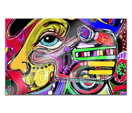 Acrylglasbilder 80x50cm Gesicht Musik modern abstrakt Kunst bunte Farben Malerei Acryl Bilder Acrylbild Acrylglas Wand Bild 14H1500