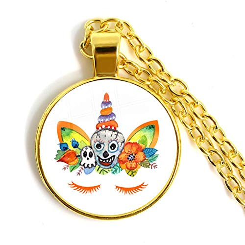 guodong Hot Unicorn Necklace Glass Gem Charm Jewelry Silver Plated Women Halloween Hollow Witch Necklace Gifts for Kids
