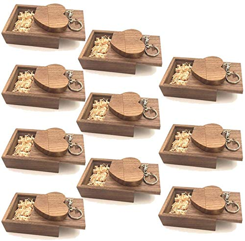 A Plus+ 10 Piezas 16GB Memoria USB Flash Drive Corazón de Madera con Cajas de Madera Regalos para Fotografía de Bodas