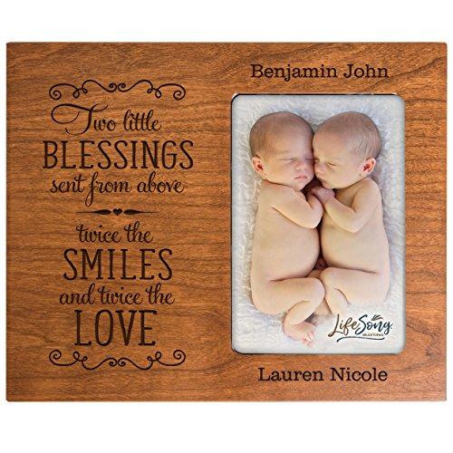 LIFESONG 이정표 개인 새로운 아기물에 대한 쌍둥이 그림 프레임을 남자와 여자를위한 사용자 정의 새겨진 사진 프레임에 대한 새로운 부모가 미미하고 조(벚꽃)