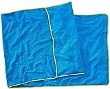 Sowel® Frottee Liegen-Auflage aus 100% Bio-Baumwolle, Strandtuch mit Kapuzenüberschlag, rutschfest für Strand- und Garten-Liegen, 220 x 80 cm, Blau/Gelb