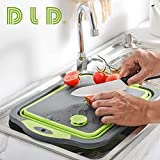D L D 【Upgrade】 Zusammenklappbares Schneidebrett mit Siebbehältern, faltbarem Silikonschalen-Schneidebrett in Lebensmittelqualität, Abflusskorb für Waschbecken für Camping-Picknick-Grill in der Küche - 3