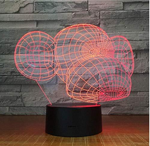 Illusion LIEBE Weihnachten Kreatives 3D führte Farbe des Sicht-7, die interessante Karikatur-Affe-Form-Nachttischlampe-Schreibtischlampe-Kinderschlaf-Beleuchtungs-Geschenke ändert
