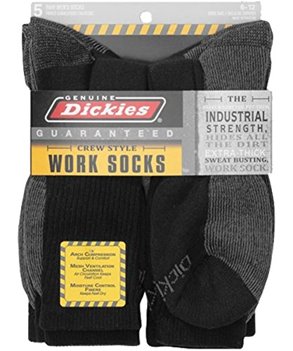 Dickies Genuine Mens 5-Pair Crew Work Socks, 5 Pair Black W/ Grey, 10-13 Sock/6-12 Shoe