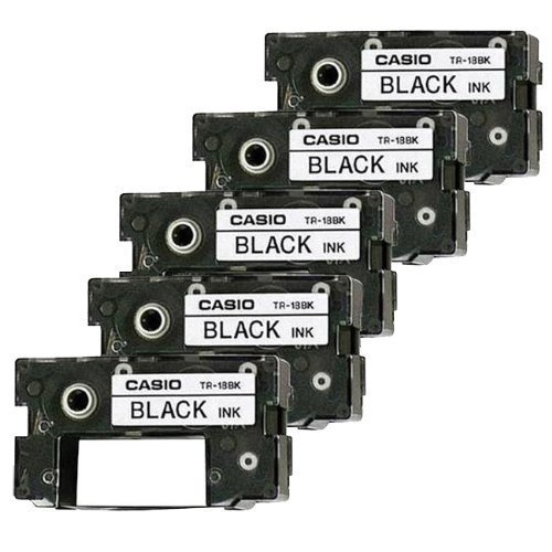 Pack of 5 Casio Black Ink Ribbon Cassette Cartridge for All CW Disc Title Printers, CW-50 and CW-75 CD Title Writers (TR-18BK)