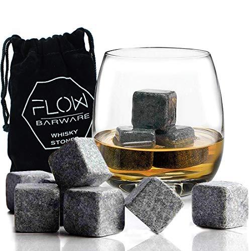 12 x Whisky Stones Chilling Rocks Wiederverwendbare Graniteiswürfel - Getränkekühler für Scotch Whisky, Geschenkset Bourbon Whisky Stones von Flow Barware