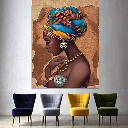 YB Leinwand Malerei Modulare Poster Dekoration Afrikanische Schwarze Frau Bilder Wandkunstwerk Hd Gedruckt Kein Framerdic Stil Für Wohnzimmer, Kein Framerdic-LXR2725,60x80cm Kein Rahmen