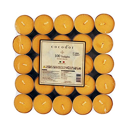 Cocod'or Scented Tealight Candles/Honey Peach / 100 Pack / 4-5 Hour Burn Time/Made in Italy