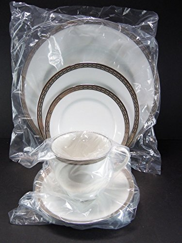 Crown-platinum By Rosenthal - 5 Piece Place Setting (Includes: Dinner Plate, Salad Plate, Bread Plate, Tea Cup, and Tea Saucer)