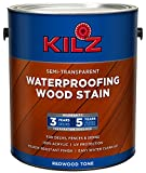 KILZ L832211 Exterior Waterproofing Wood Stain, Semi-Transparent, Redwood, 1-Gallon,...