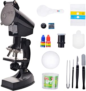 Childrens beginner microscope kit Best Student Microscope Double Optical Glass Lens Full Metal Frame Student Microscope Microscope Preparation And Blank Slides 5-12 Years Old Capture the microworl