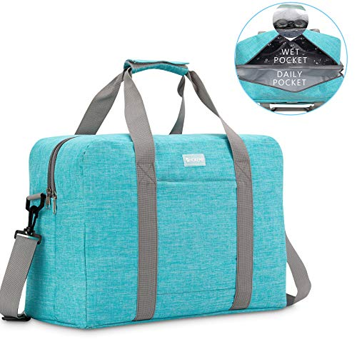 HOKEMP Gym Bag For Women Men Sport Duffel Bag with Shoes Compartment, Swim Bag Travel Tote Luggage Shoulder Bag(Blue,XL)