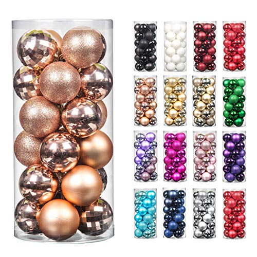 Jusdreen 24pcs 2.36'/60mm Christmas Balls Ornaments for Xmas Tree Shatterproof Christmas Tree Hanging Balls Decoration for Holiday Party Baubles Set with Hang Rope Rose Gold