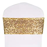 Desirable Life Pack of 50 Stretch Sequin Chair Sashes Chair Bands One-Sided Sequins Decor for Hotel Wedding Reception Party Event Chair Cover Decoration 4'x16' - Light Gold