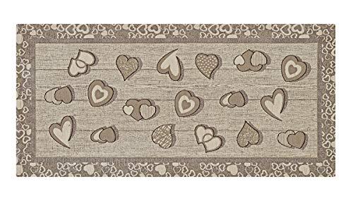 HomeLife Tappeto Cucina Antiscivolo 55X110 Made in Italy | Passatoia Moderna Colorata Stile Shabby Chic a Cuori | Tappeto Runner Lungo Lavabile [55X110, Tortora]