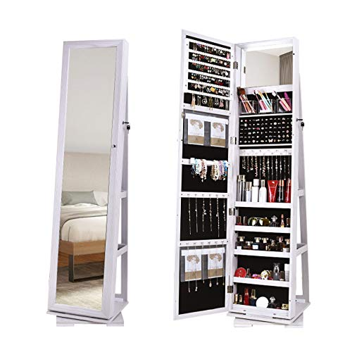 DlandHome Jewelry Armoire with Full Length Mirror 360°Rotatable Jewelry Organizer Cabinet Lockable with Storage Shelf