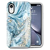 Dutyway Case for iPhone Xr Marble Gold Sparkle Glitter Cute Slim Fit Hard PC Shockproof Rugged Bumper Full Body Protective Cover Compatible with Apple iPhone Xr 6.1 Inch (Blue Gilded Marble)