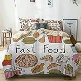 AIKIBELL Set Biancheria da Letto Microfibra,Fast Food Lettering Aliment Doodle Gelato Panino Hamburger Patatine Fritte Ciambelle Pizza Multicolore,1 Copripiumino 86x94inch + 2 federe 19.6x31.5inch