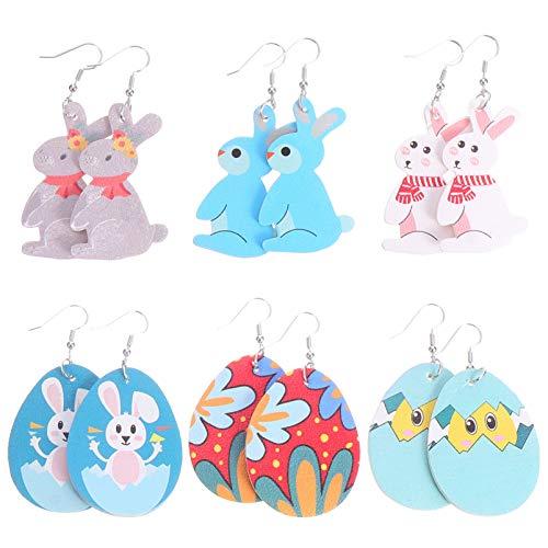 PRETYZOOM Easter Bunny Leather Earrings Leaf Shape Earrings Easter Egg Rabbit Earings ( 6 Pairs )