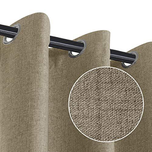 RHF Blackout Curtains for Bedroom, Primitive Linen Look, 100% Blackout Curtains Linen Blackout Curtains, Grommet Curtains for Living Room, Burlap Curtains-2 Panels (50x63 Natural)