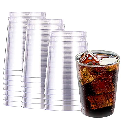Drinking Clear Plastic Cups Disposable - 10 Oz 20 Pack Crystal Clear Reusable Glasses Сocktail Tumbler for Party Halloween Wedding Catering Hard Sturdy Cups for Iced Coffee Punch Water Juice Wine