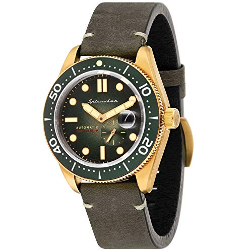 SPINNAKER Men's Croft 43mm Green Leather Band Automatic Watch SP-5058-04