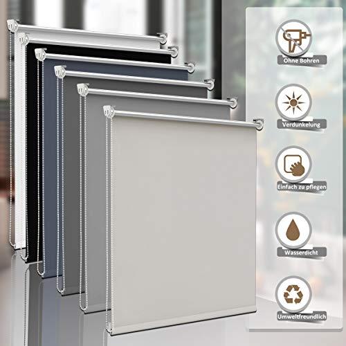Sanfree Verdunkelungsrollo ohne bohren Klemmfix, reflektierende Thermofunktion Klemmrollos für Fenster, Sichtschutz Fensterrollos Blickdicht Verstellbare Klemmträger,Creme 100x150cm (BxH)