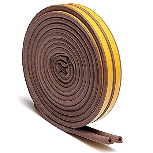 HUAJIANGHU 5M P-Typ Selbstklebende Dichtungsstreifen Schaum Zugluftausschluss des Dichtungsprofils Fenster Türdichtungsstreifen for Hardware-Werkzeuge Langlebig (Color : Brown, Size : D)