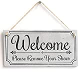 Hty Welcome Please Remove Your Shoes' - Cute Welcome Sign - Vintage Door Sign Plaque 10'x5'(25x12.5 cm)