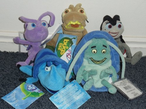 "Disney Bug's Life Set of 5 8"" Plush Bean Bag Dolls Including P.T. Flea, Dim, Tuck, Dot and Francis the Lady Bug Dolls"