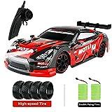 FancyWhoop GT Drift Car RC Sport Racing Car Veicolo da Drift ad Alta velocità 1/16 RC Auto per Adulti Regali per Bambini, 4WD RTR Veicolo con Luce LED, Due batterie e Pneumatici da Drift - Rosso