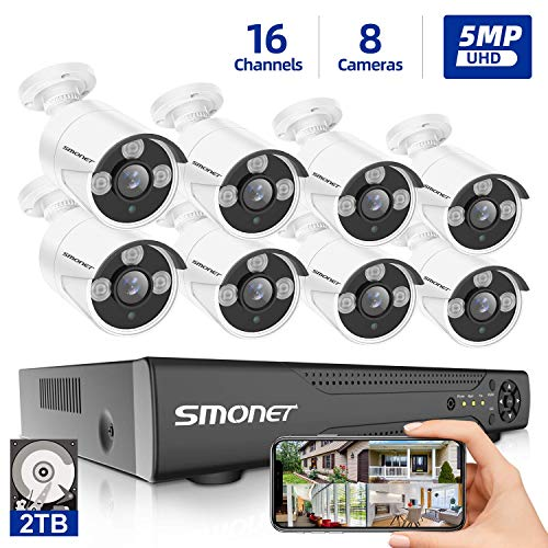 【5MP 16 Channel】 Surveillance Camera System, SMONET 5-in-1 DVR 16CH Security Camera System (2TB HDD), 8pcs Wired 5MP(2560TVL) Outdoor Waterproof Cameras with Night Vision Remote View
