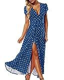 ACHIOOWA Mujer Vestido Elegante Casual Playa Bohemio Dress Lunares Cuello V Manga Corta Escote Fiesta Cóctel Falda Larga Azul M