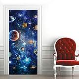 Etiqueta de Puerta Universo Planeta Azul Pegatinas de Pared Decoración de Hogar 95 x 215 cm