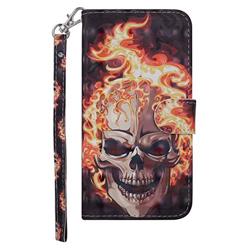Coopay Boys Men Wallet Flip Phone Case for iPhone 7 Plus/ 8 Plus Leather PU with Fire Anger Skull Pattern Bookstyle Card Holder Kichstand Design Protective Cover Bumper Holster + Neck Strap 20