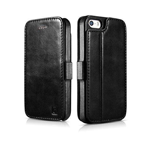 Custodia per iPhone 5S, ICARER genuino pelle custodia pieghevole cover con stand funzione, 2 della carta vintage stile vera pelle Cover per iPhone 5 5S SE (nero)